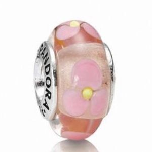 Pandora Retired Murano Glass Pink Floral Bead